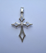 Sterling Silver Cubic Zirconia set pointed cross pendant